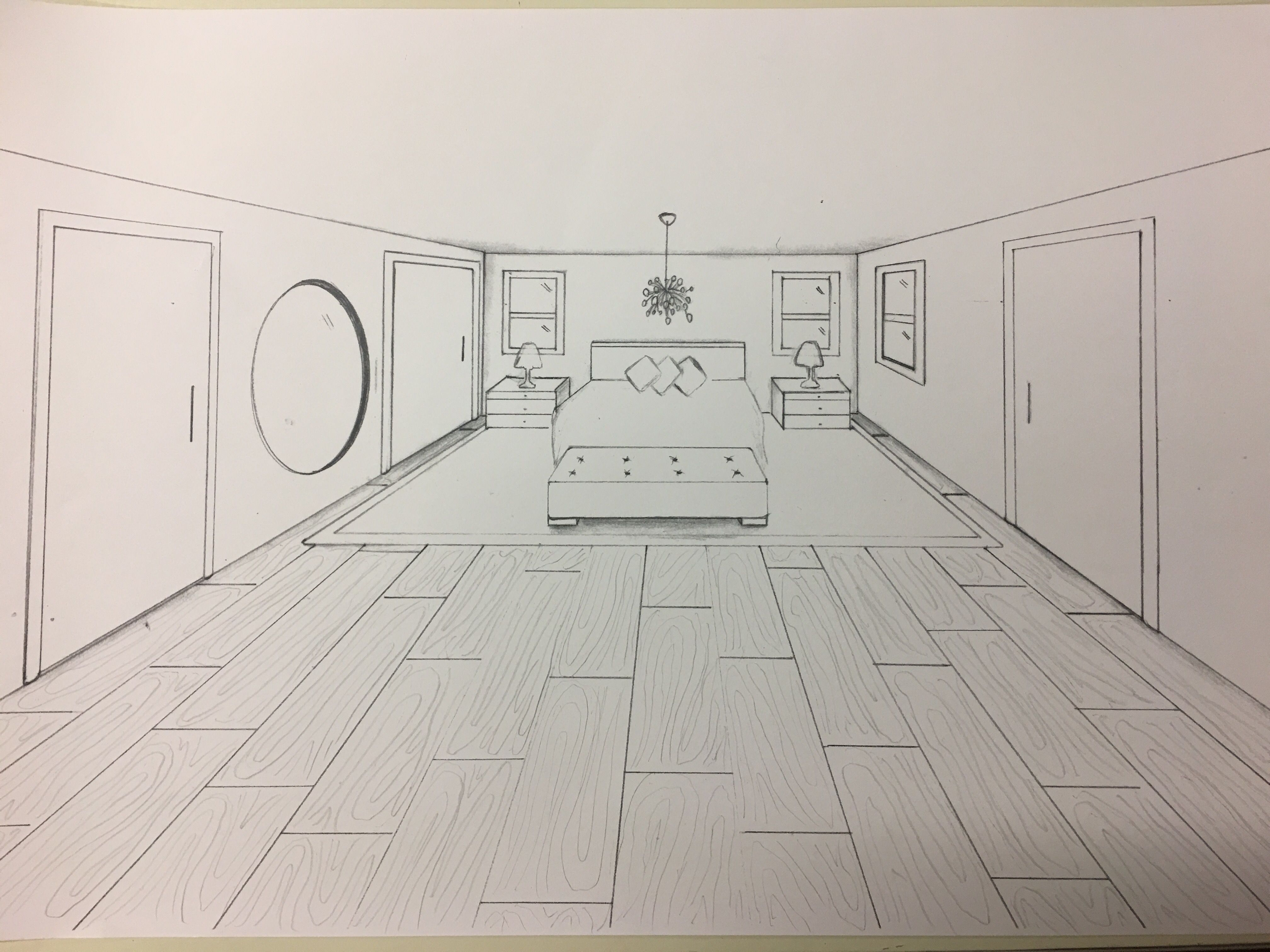 Master Bedroom In 1 Point Perspective Perspective Room One Point Perspective Room Perspective Drawing Architecture