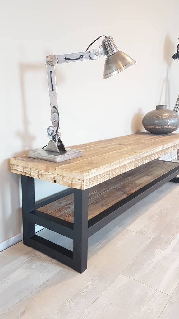 Tv Kast Staal.Tv Meubel Hout Staal In 2019 Bench Steel Furniture Metal