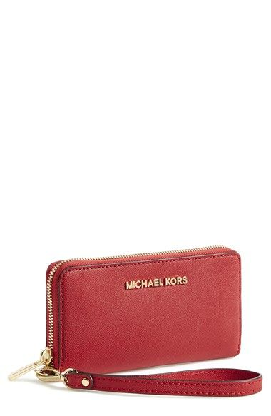 a915d7248e1add MICHAEL Michael Kors 'Large Jet Set' Saffiano Leather Phone Wristlet  available at #Nordstrom
