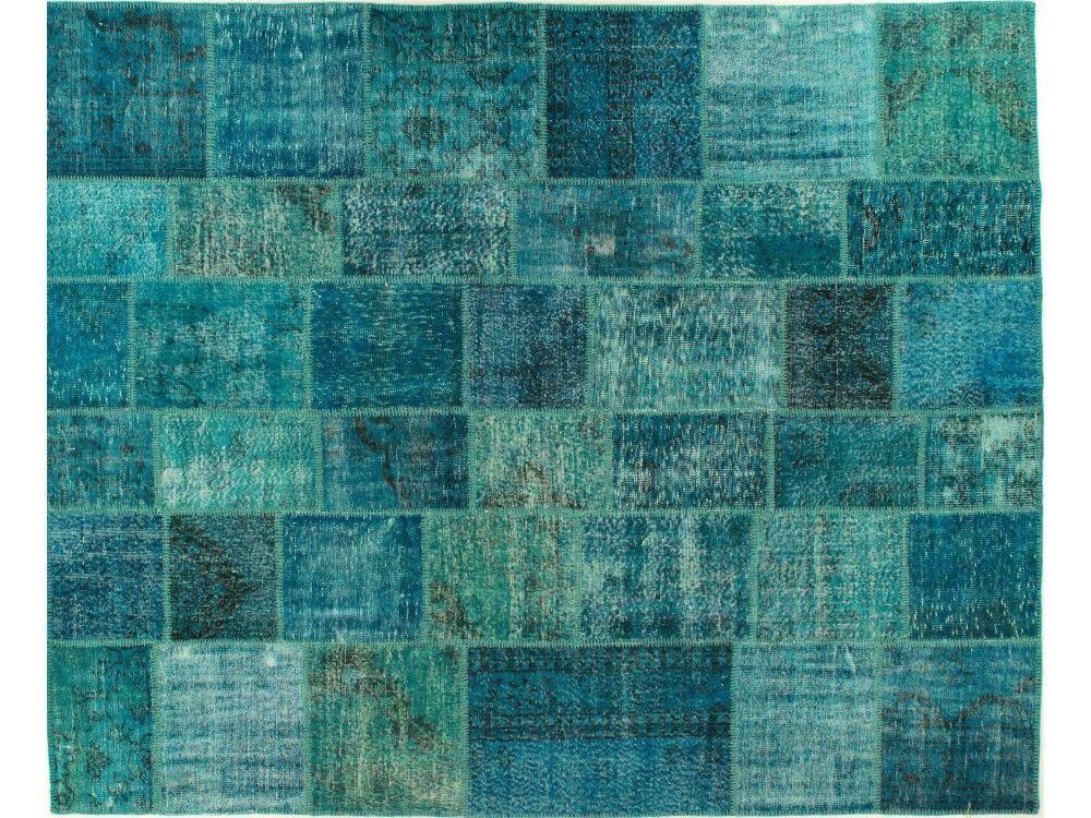 Turquoise Patchwork Overdye Rug PW1936