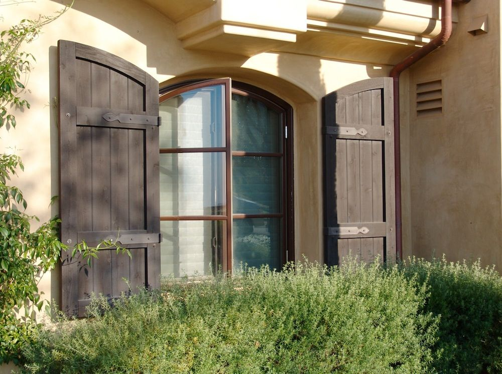 Board and batten exterior shutters superior custom house for Country shutters exterior