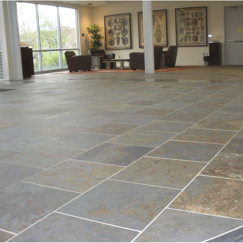 Carrelage Exterieur Pierre Naturelle En Ardoise Multicolore 45x45cm Tile Floor Flooring