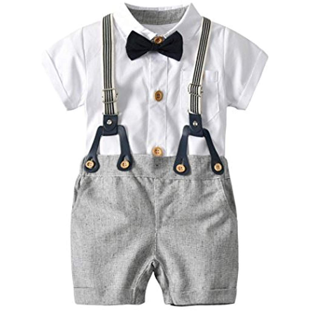 MAOMAHREWW Infant Toddler Boys Outfit Long Sleeve Gentleman Romper Cotton Jumpsuit
