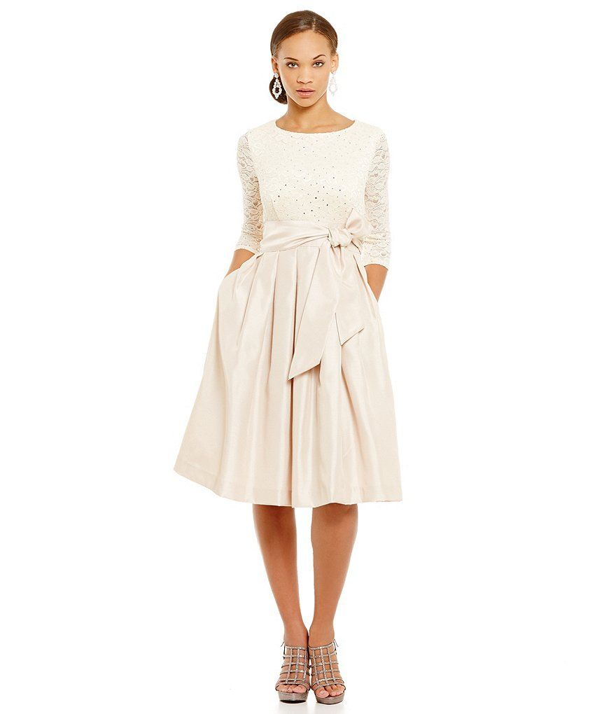 Jessica Howard Petite 3/4-Sleeve Lace Taffeta Party Dress | Lace ...