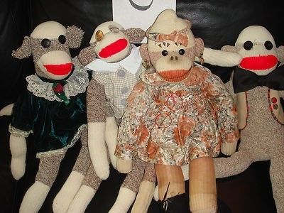 4 VINTAGE SOCK MONKEYS ON THE WAY TO A PARTY ( C ) (12/11/2011)