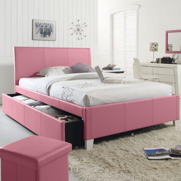 Bedroom Pink Color Twin Size Bed Frame With Headboard For Girl