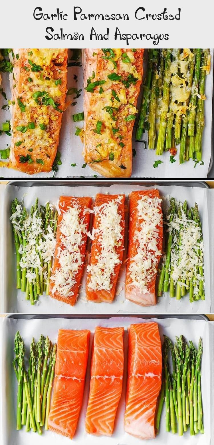 Garlic Parmesan Crusted Salmon And Asparagus - Healthy Recipes #garlicparmesanshrimp