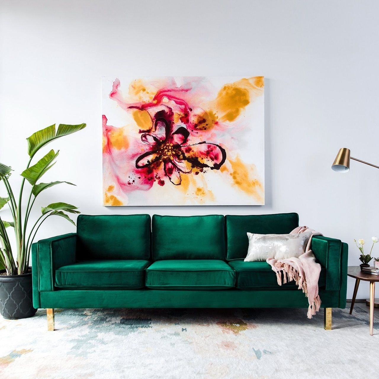 Lexington Mid-Century Modern Emerald Green Velvet Sofa images