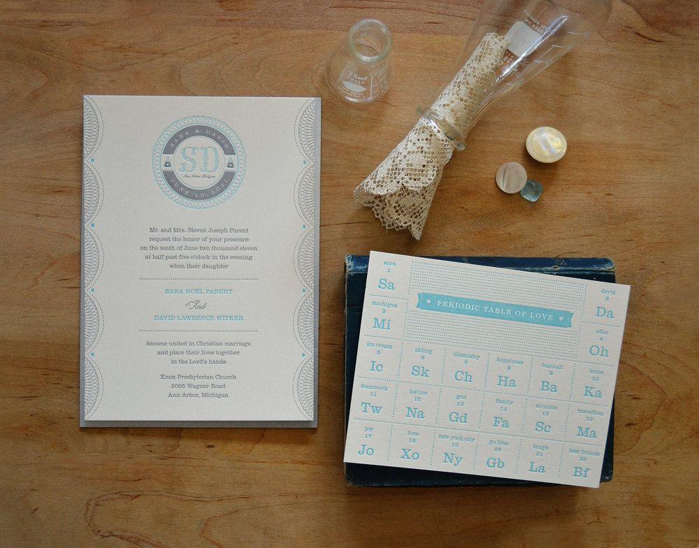 Periodic table of Love, wedding invite