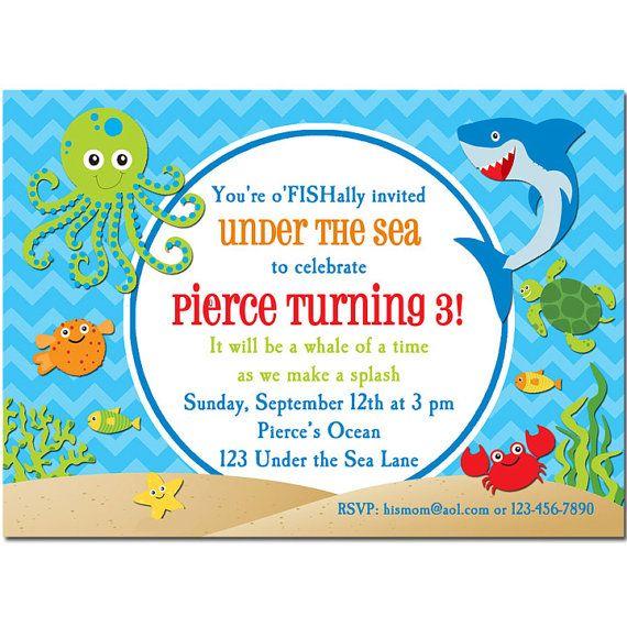 Under The Sea Invitation Printable Or Printed With Free Etsy Sea Birthday Party Sea Birthday Birthday Invitations Kids