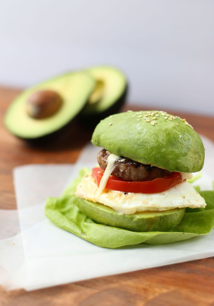 Avocado Bun Breakfast Sandwiches With Sausage Egg Cheese