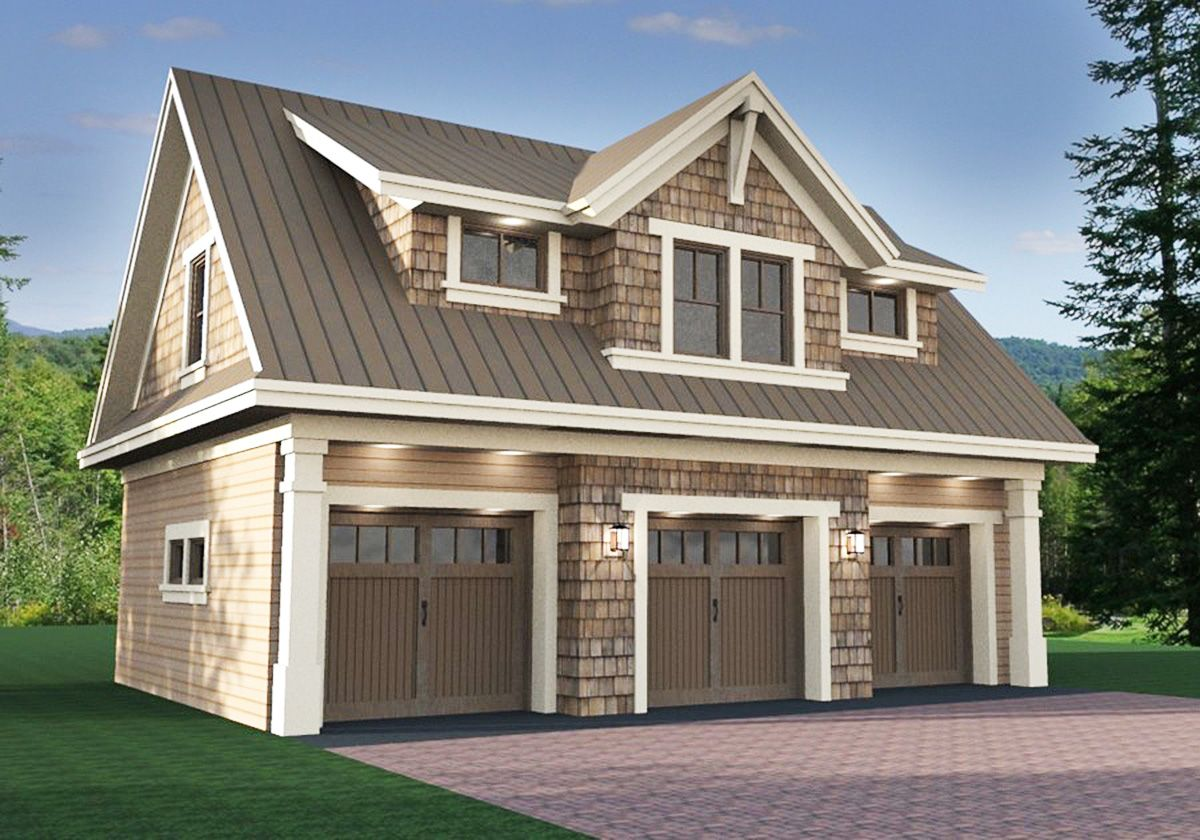 Plan 14631rk 3 car garage apartment with class garage for Two car garage with apartment on top