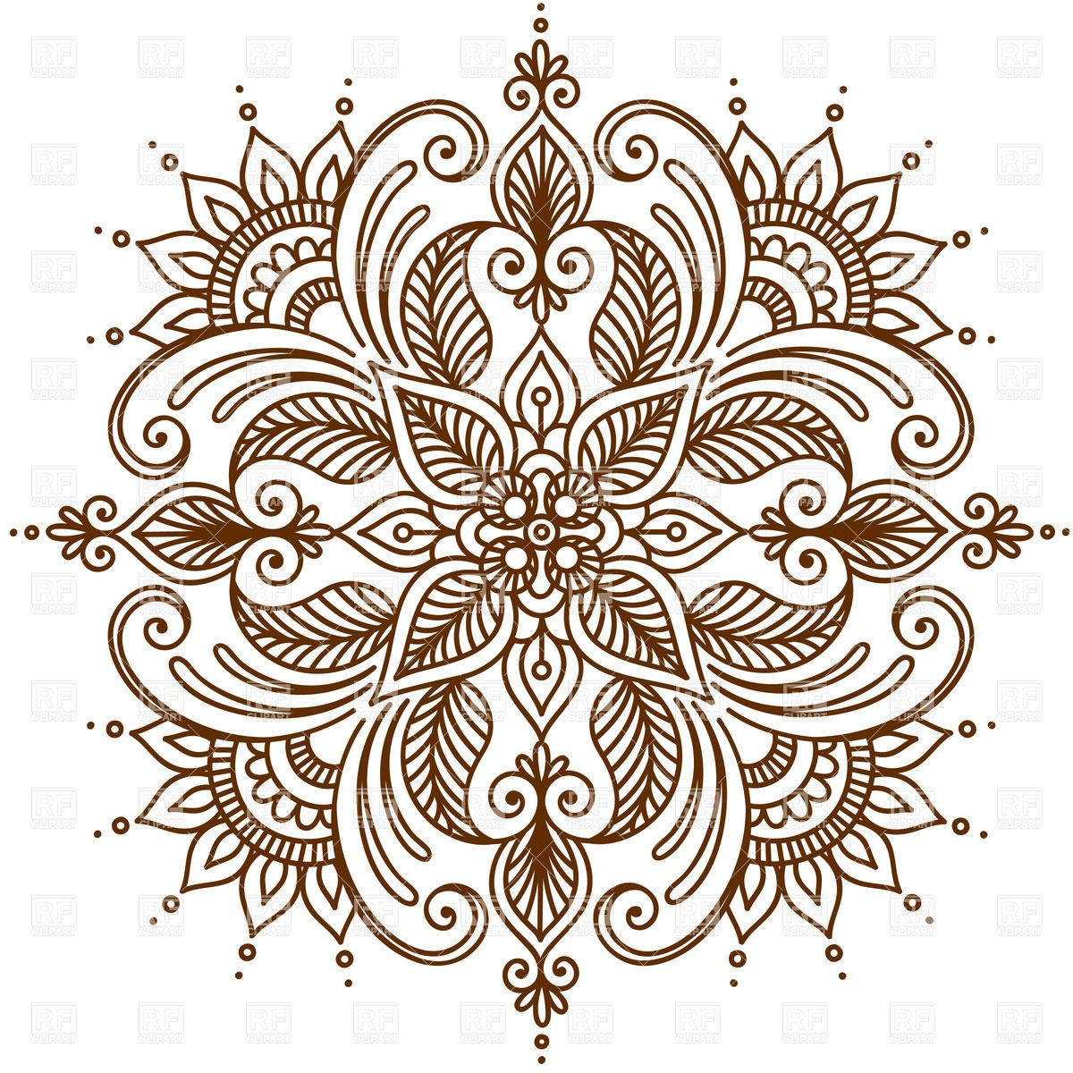 Round Mehndi Element Ornament Vector Image Vector Illustration Of