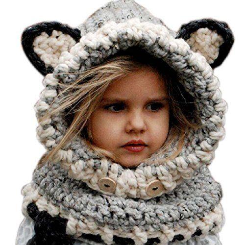 Frbelle® Hiver Tricotés Bonnet Chapeaux Renard Unisexe Cagoules Enfant  Fille Garçon Bébé Pour Ski Vélo VTT Protection Tour de Cou et Visage 3 4 5  6 7 8 9 ... 3499b82d16c