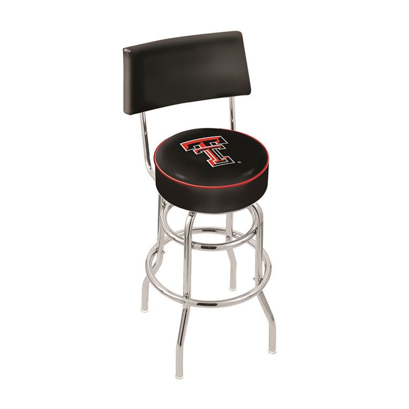 """Texas Tech Red Raiders 25"""" Chrome Double Ring Swivel Bar Stool with Back"""