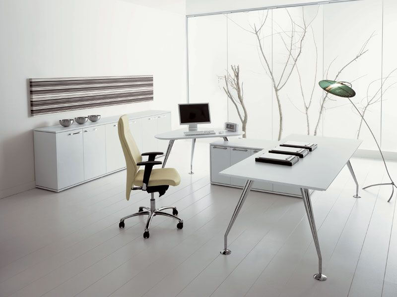 White minimalist office interior Sala de Reuniones Pinterest - Escritorios Modernos