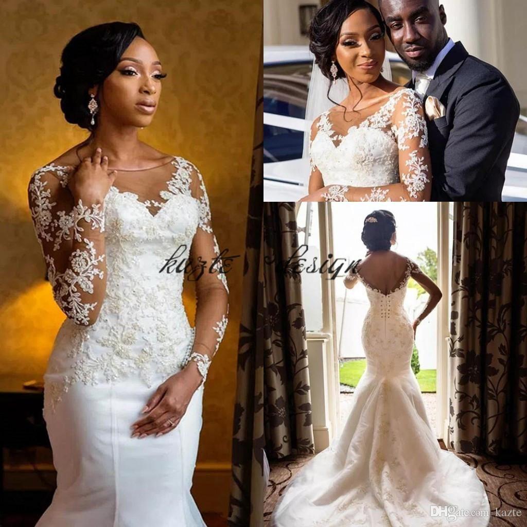 Plus size mermaid wedding dress african black girls sheer lace