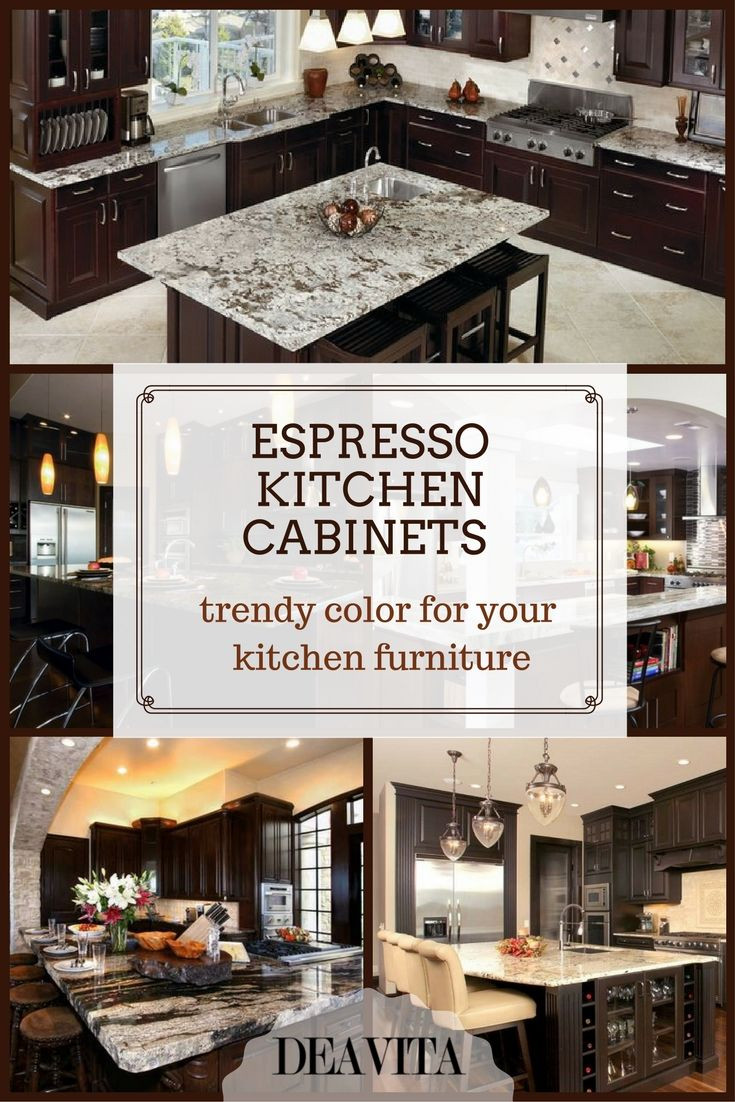 Espresso kitchen cabinets are often seen in modern design as this ...
