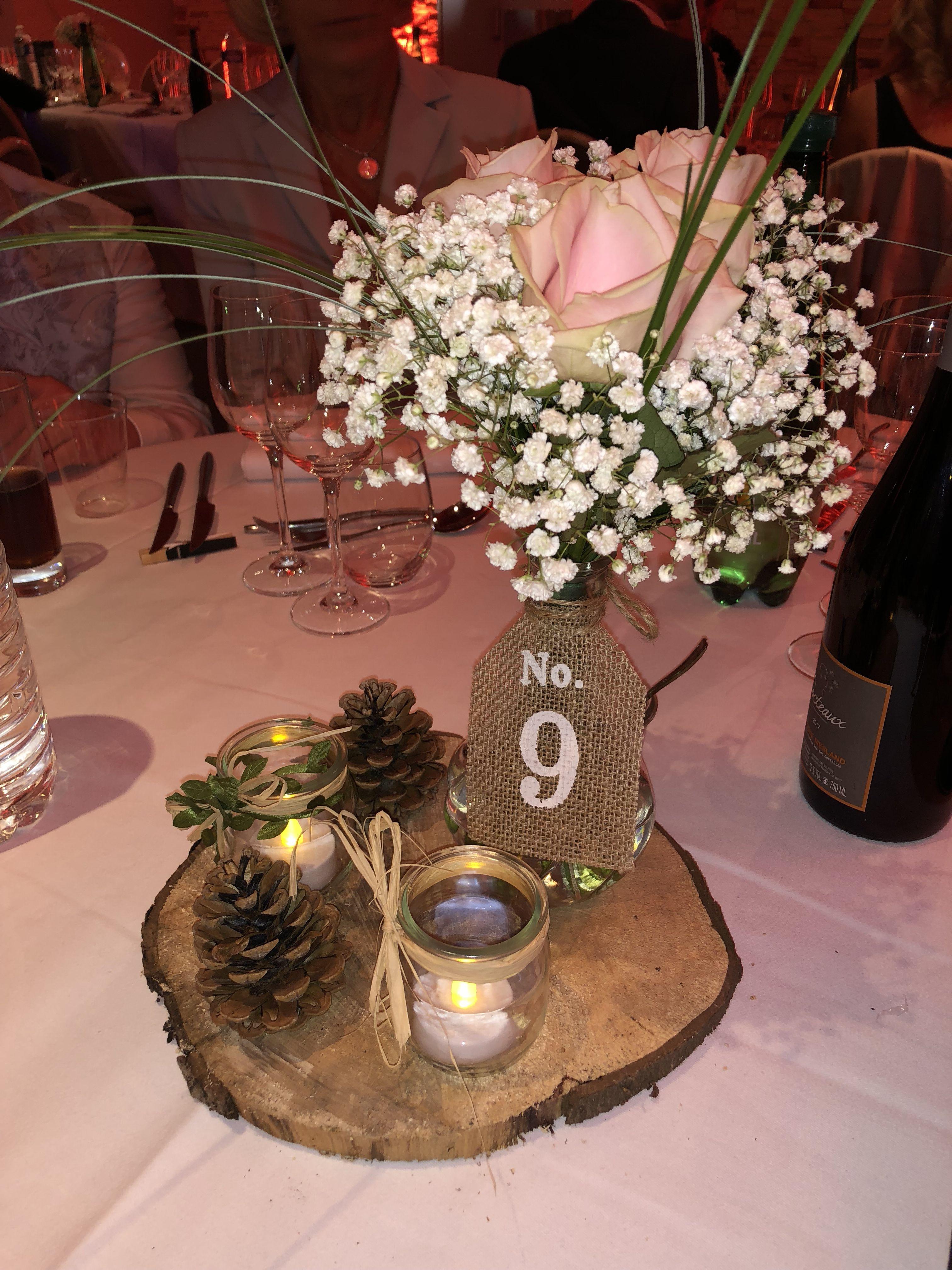 Centre De Table Design centre de table champêtre mariage. rose et gypsophile