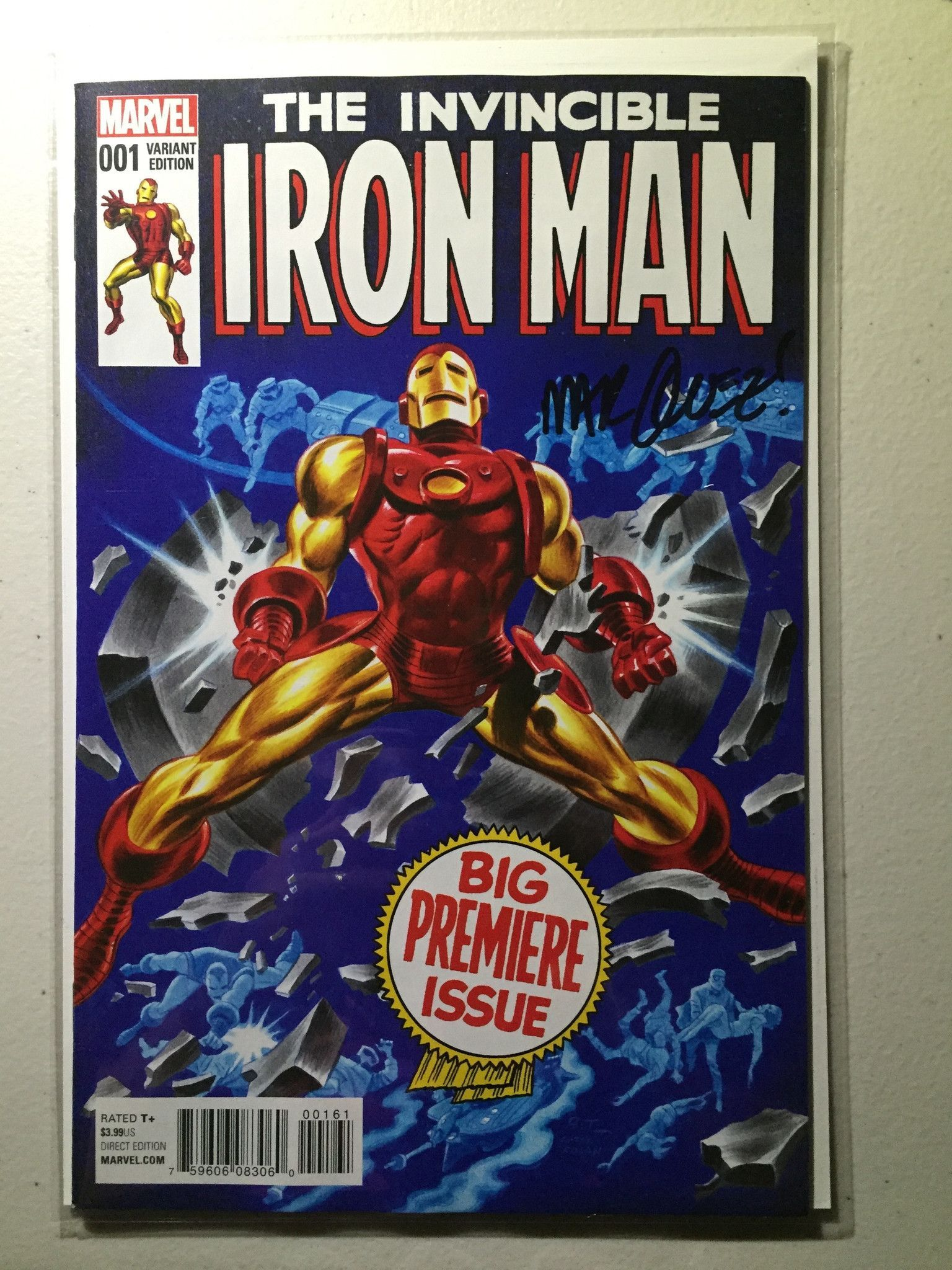 High Grade W Brian Michael Bendis A David Marquez Ca Bruce Timm Exploding Out Of The Pages Of Secret Wars One Marvel Comics Covers Iron Men 1 Iron Man
