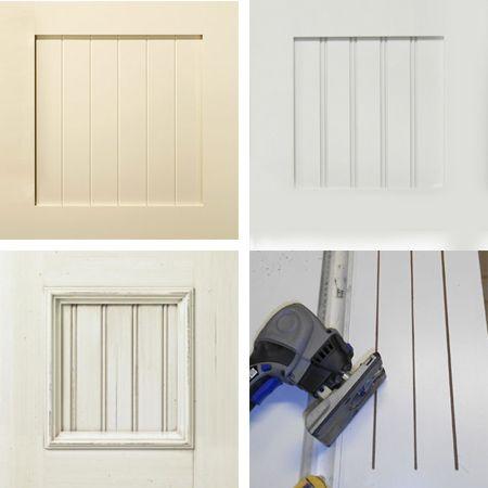 Plain white melamine kitchen goes coastal cabinet door bead board