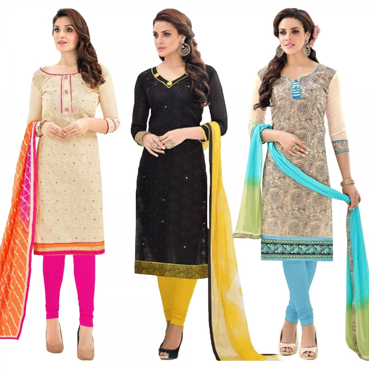 55867bf5f0 Buy Pack of 3 Chanderi Dress Material at Rs. 1999- Get latest combo packs