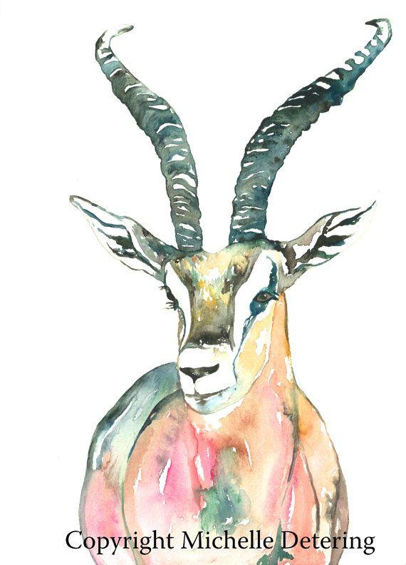 ff272e7d09b26 Watercolor Animal Print - Impala Watercolor, Nature, Gazelle Art ...