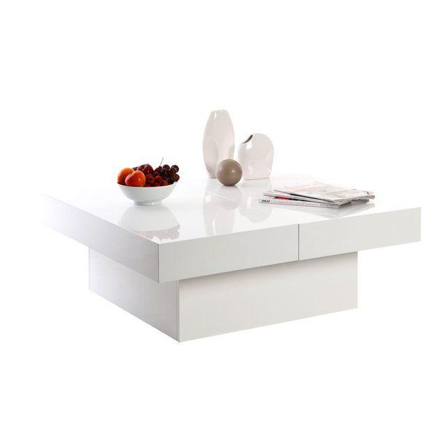 Table Basse Design Plateaux Ouvrants Laque Blanc Laureen Miliboo