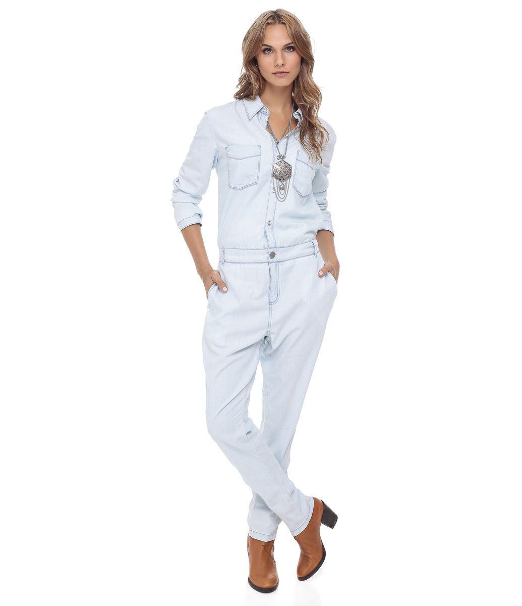 719869afa Macacão feminino Manga longa Com bolsos Cós com passantes Marca  Marfinno  Tecido  Jeans Composição  100% algodão Modelo veste tamanho  P COLEÇÃO  INVERNO ...