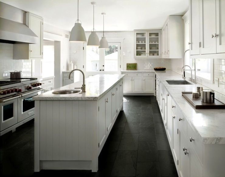 Crisp White Kitchen Black Slate Floor Slate Floor Kitchen