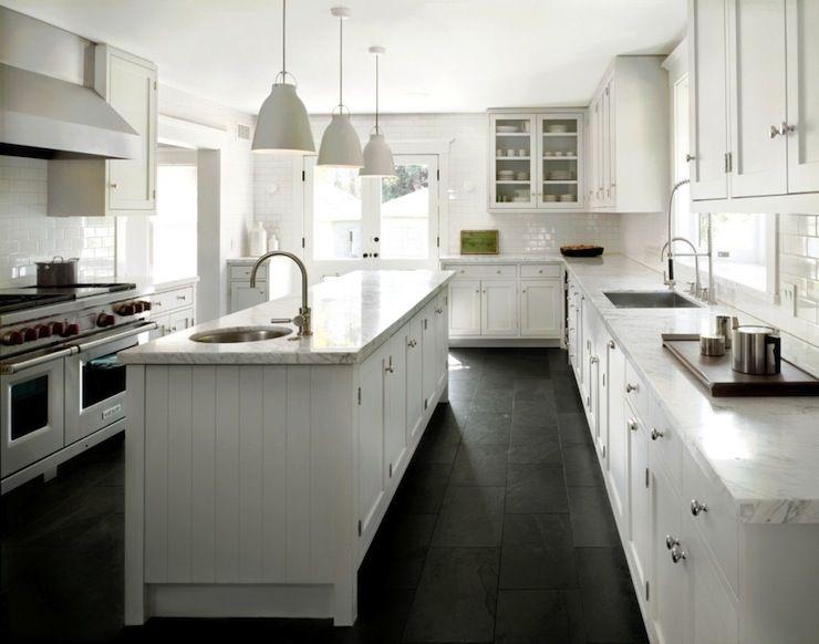 Crisp White Kitchen + Black Slate Floor