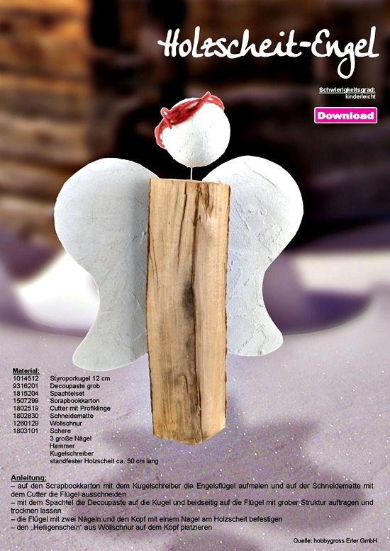 bastelideen trend engel holzscheit engel weihnachten pinterest bastelideen f r. Black Bedroom Furniture Sets. Home Design Ideas