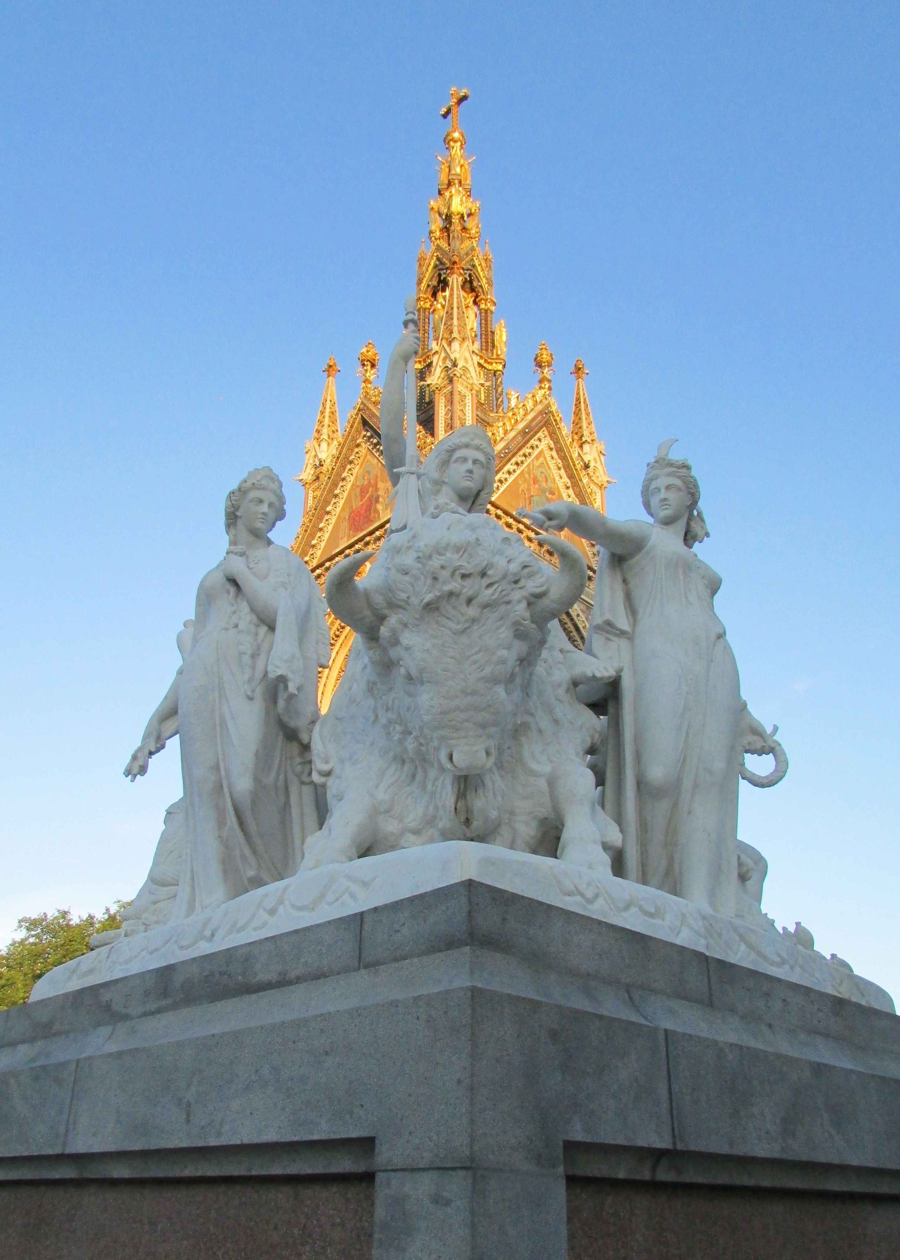 Inspirational statue at one corner of the Prince Albert Memorial, Hyde Park, London.