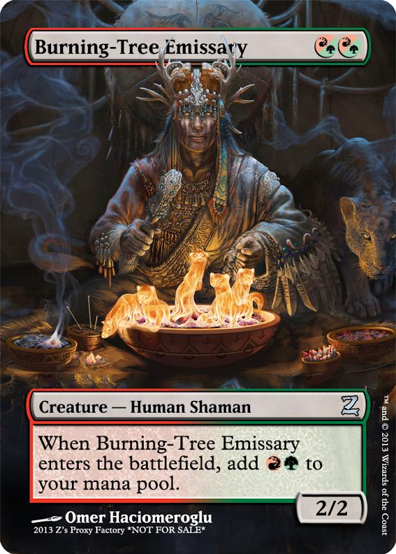 Burning-Tree Emissary, zeerbe, proxy, digital render, Z's Proxy Factory, MTG, Magic the Gathering