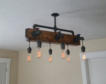 Distressed wood beam chandelier ceiling pipe by for Diy wood beam light fixture