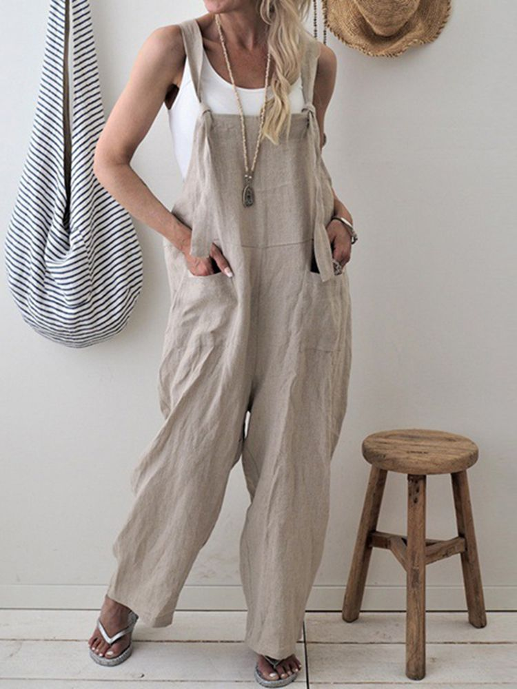 2ff5f1ca561b7 Women Casual Spaghetti Straps Loose Wide Leg Jumpsuit with Pockets  BazaCenters.Com