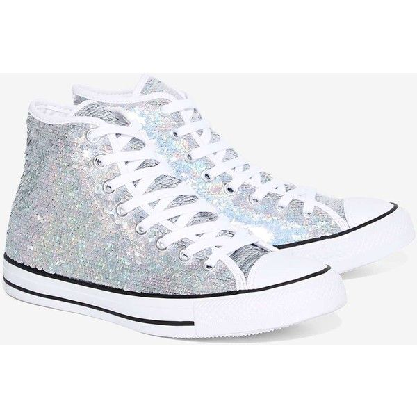 20d6d635537af Converse Chuck Taylor Holiday Party Sequin High-Top Sneaker ( 80) ❤ liked  on Polyvore featuring shoes