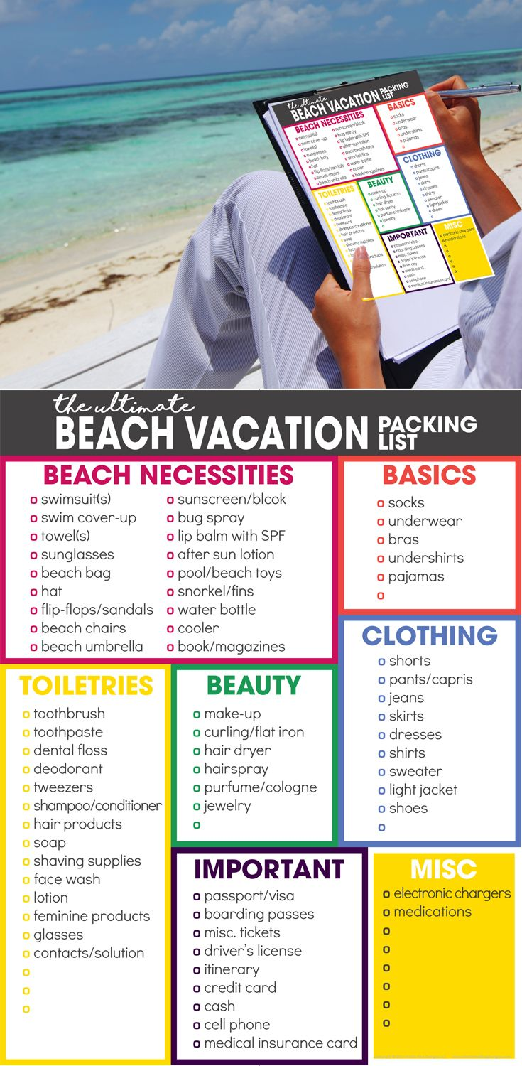 da424261ed beach vacation packing list | spring break packing list | free printable |  what to pack for vacation via @moritzdesigns