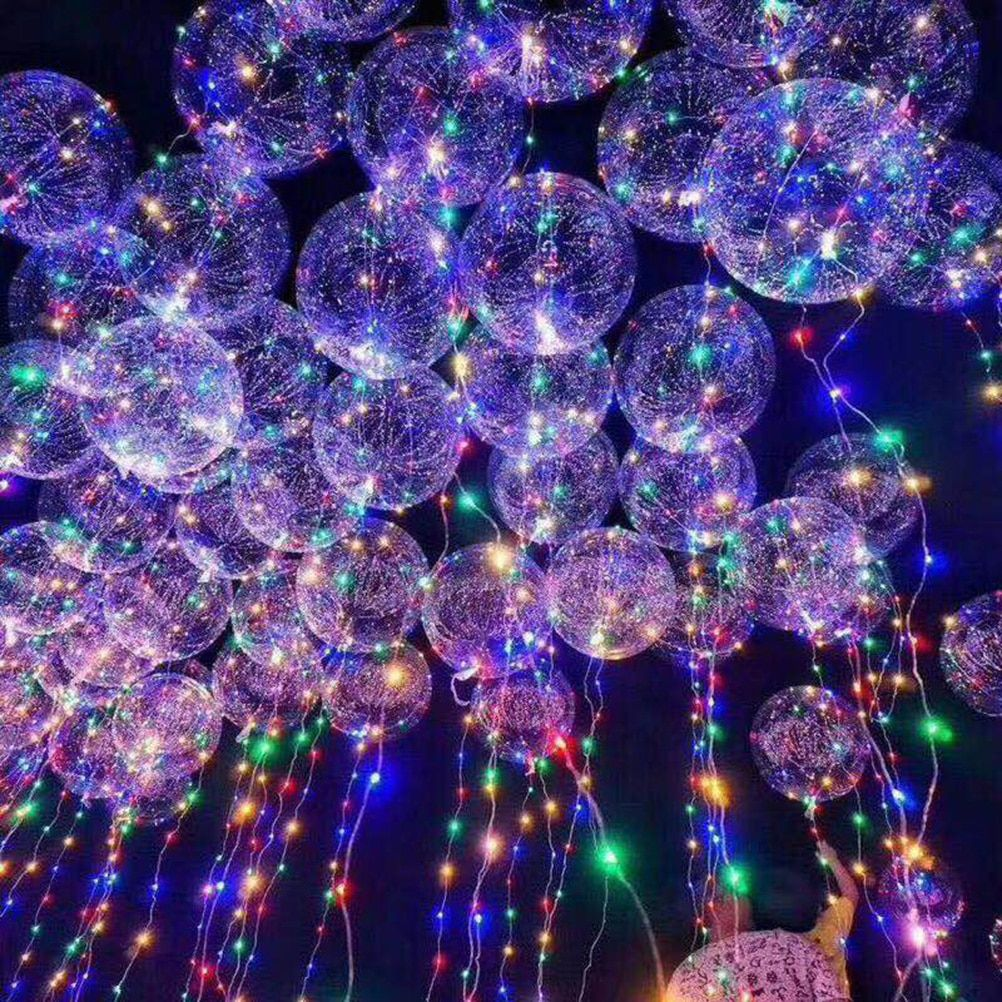 Hot 18Inch Luminous Led Balloon 3M LED Air Balloon String Lights Round Bubble Helium Balloons Kids inflatable Toy gifts