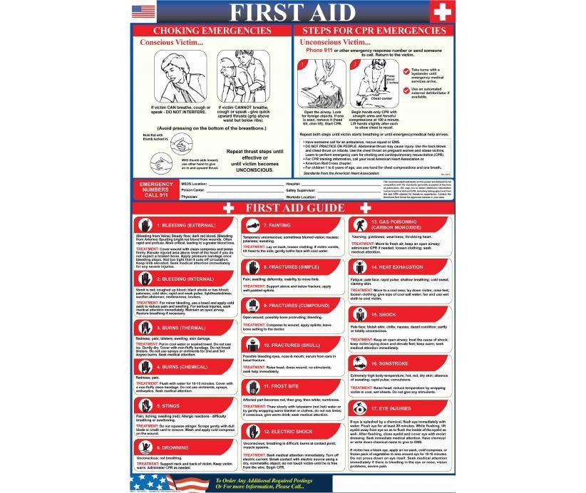 Poster, FIRST AID CHOKING/CPR, 36 X 24, LAMINATED PAPER