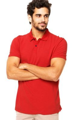 Camisa Polo Manga Curta Calvin Klein Jeans Logo Vermelha