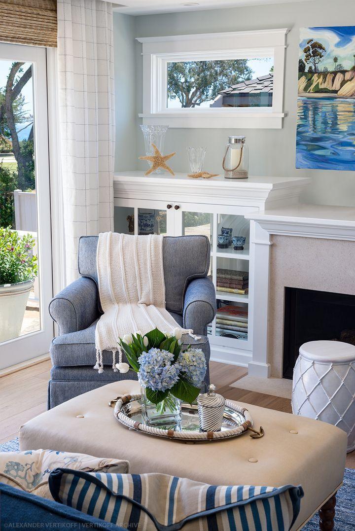 Cozy Coastal Living Room Debra Lynn Henno Design Curtains