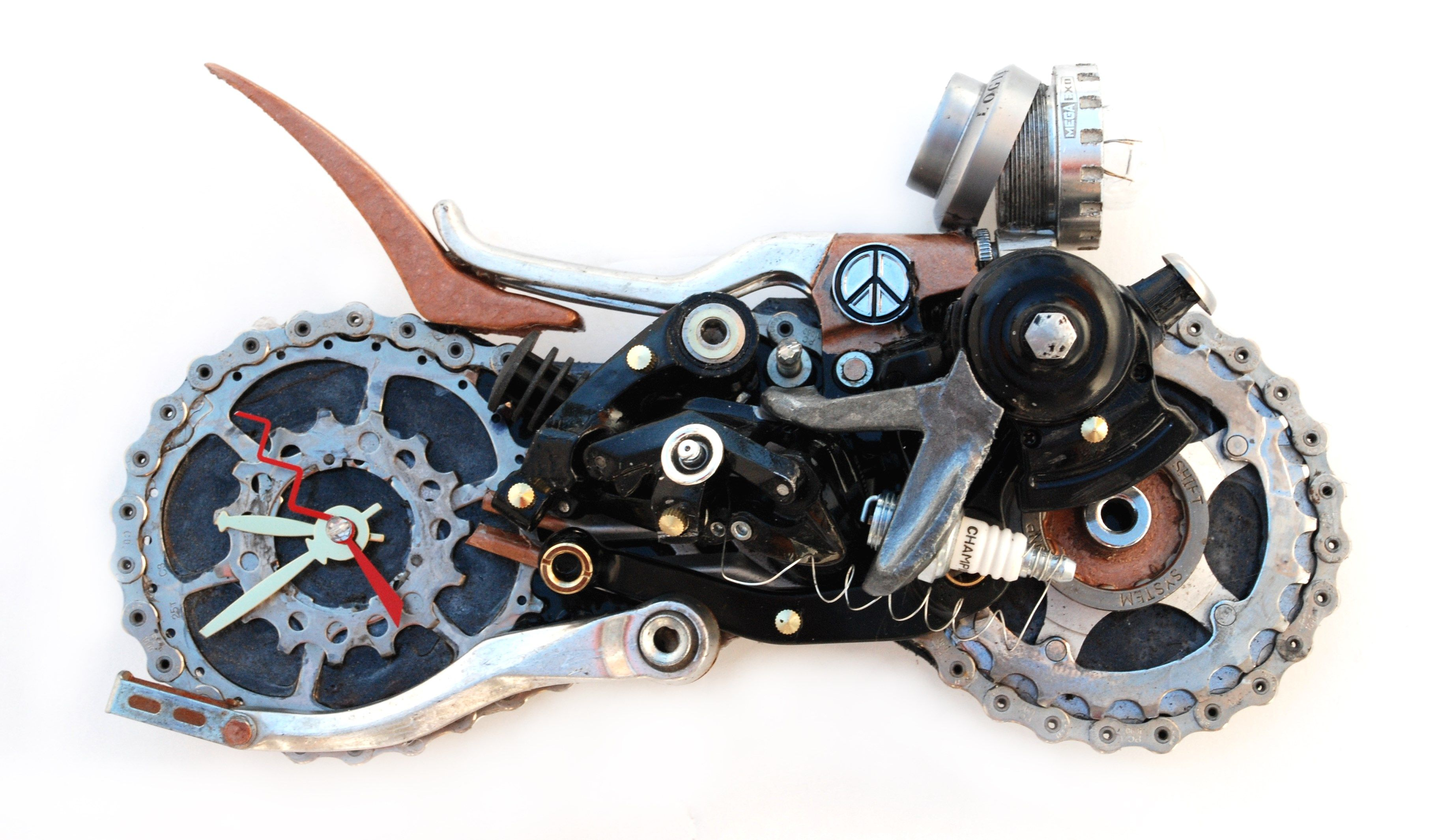motorcycle clock created from recycled bicycle parts. Sold many!!