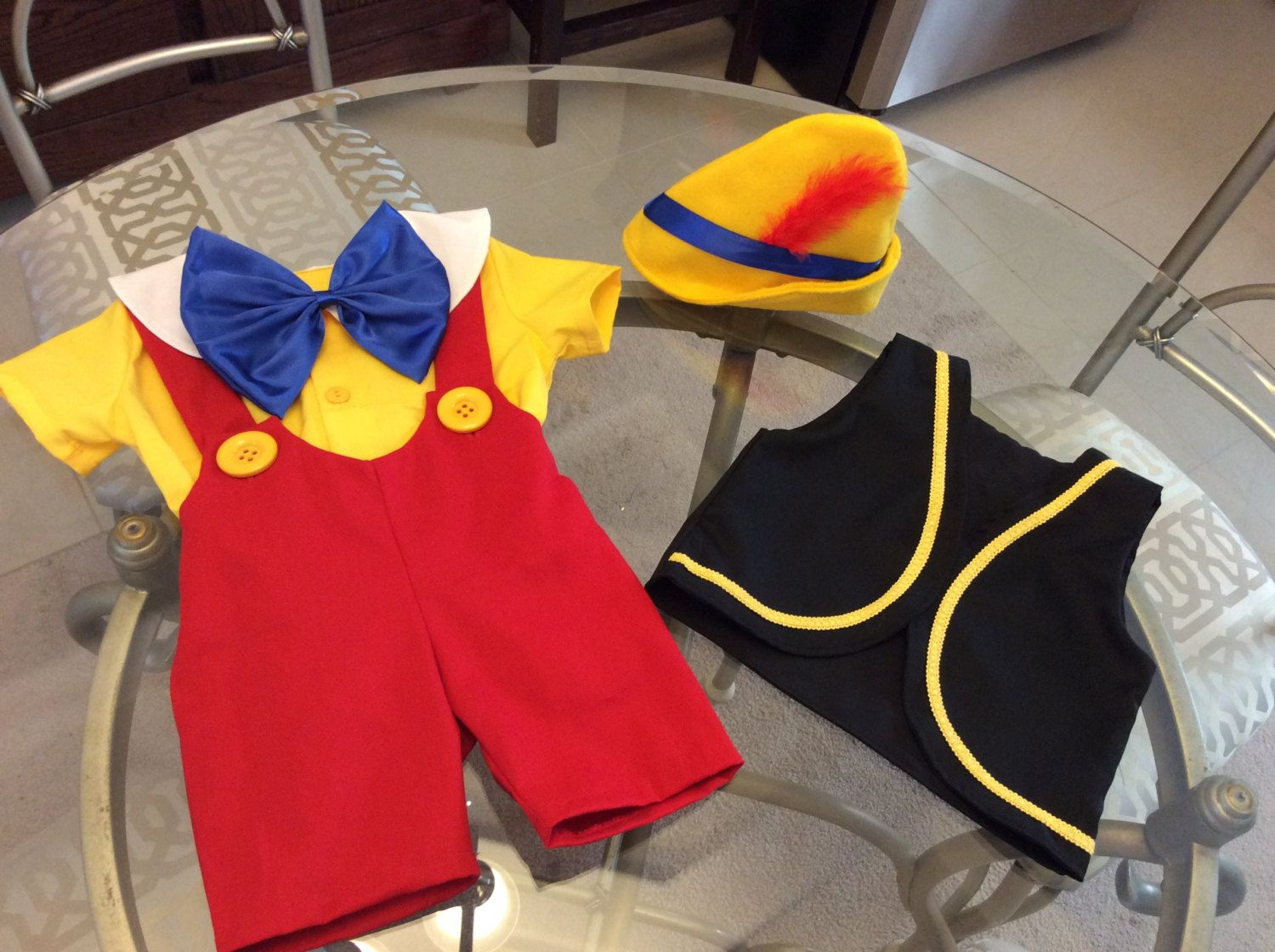 Pinocchio costume 5 pieces shirt short vest bow and hat sizes 6 pinocchio costume sizes 6 months to 5t 5 pieces shirt short vest maxwellsz