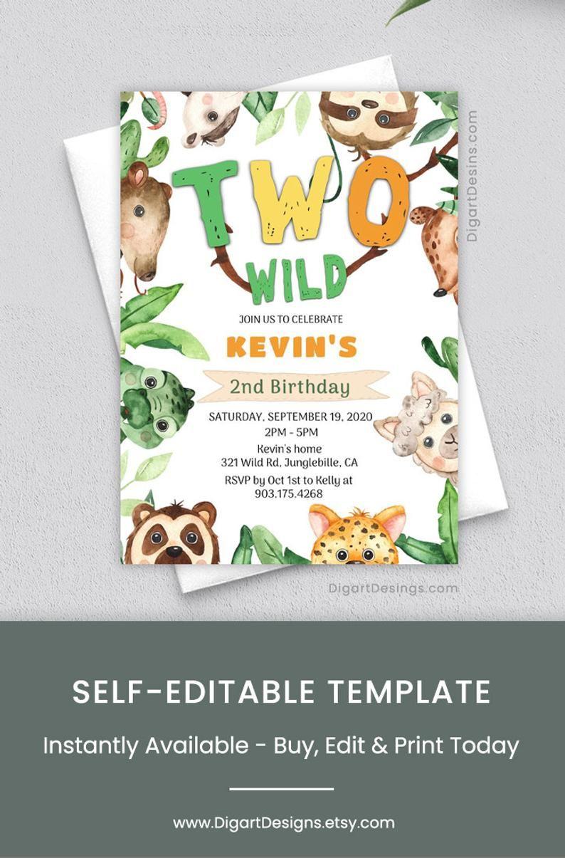 editable two wild birthday invitation