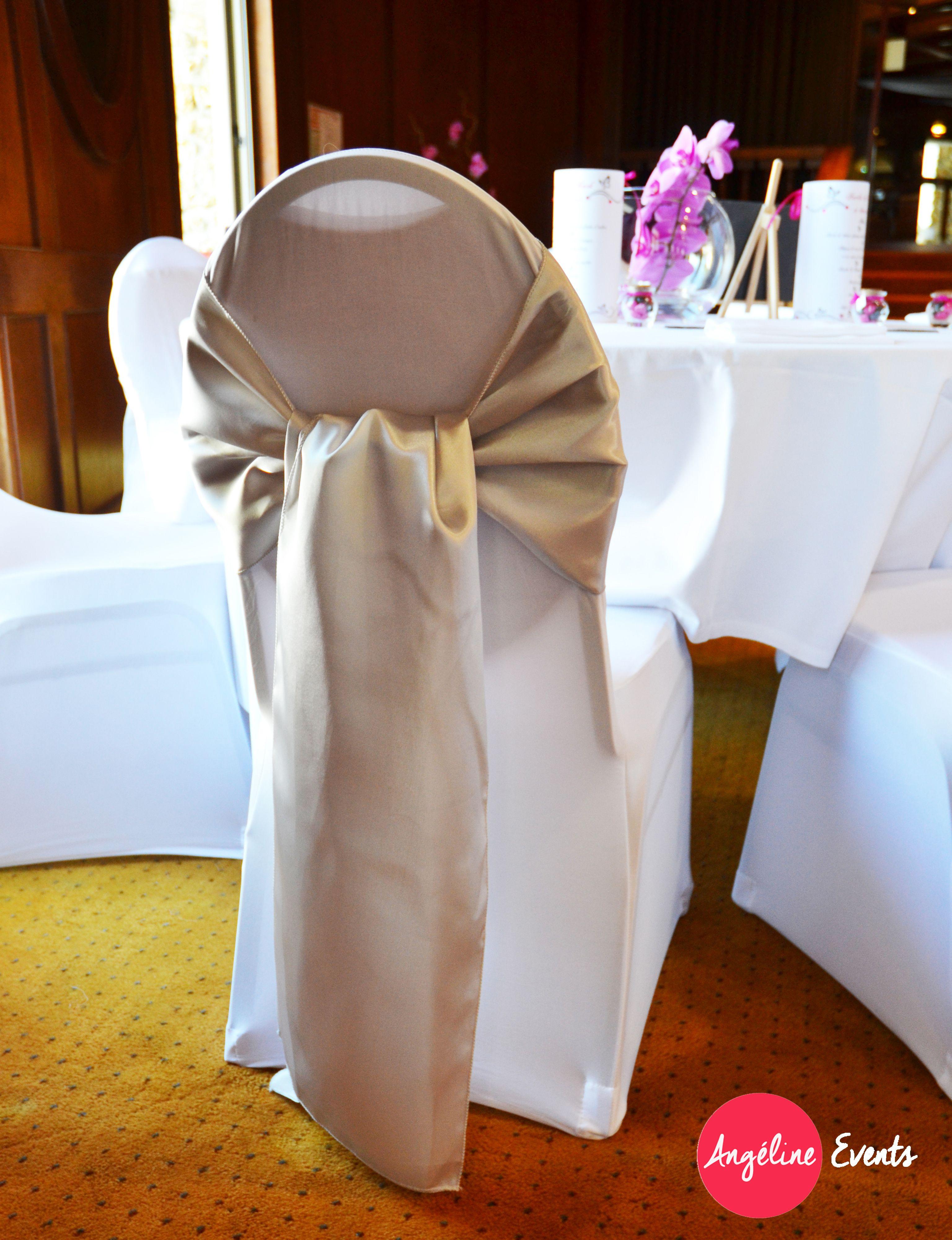 mariage housse noeud de chaise gris perle