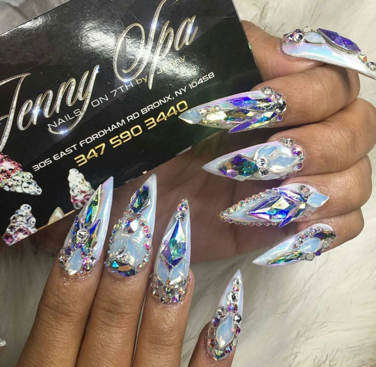3D crystal rhinestone icy long stiletto nails | Nails | Pinterest ...