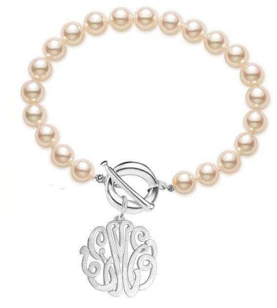 Personalized Monogram Bracelet in Sterling Silver with Pearls -Order Initials of YOUR choice - ZB90834P-SS. $84.99, via Etsy.