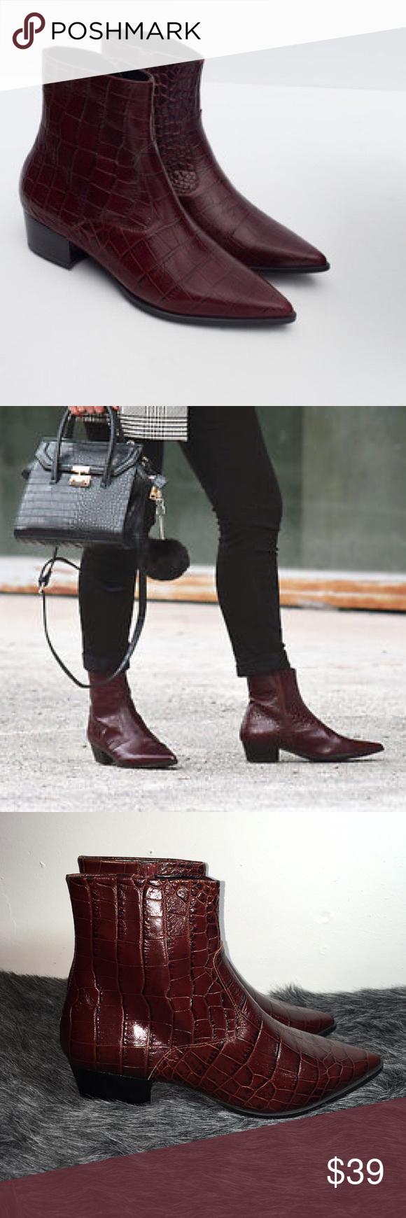 Zara Cowboy Leather Mock Croc Boots UK6 EUR39 US8 RRP £99.99