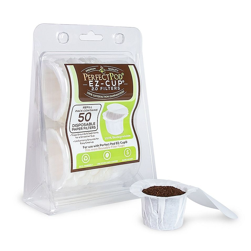 Perfect Pod Ez-Cup Filters (Set Of 50) White - Used in conjunction with the Perfect Pod EZ-Cup; EZ-Cup filters allow you to use the coffee of your choice with your Keurig machine. EZ-Cup filters are an economical and ecological alternative to K-Cup single serve packs.